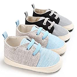 Royirene Newborn Baby Boys Canvas Soft Sole Anti-Slip Infant Prewalker Toddler Sneaker Shoes