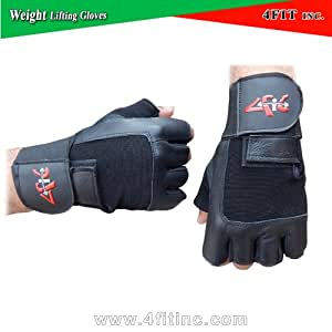 4Fit Leather Weight Lifting Gloves Long Wrist Wrap Padded Strength Training Gym S-XXL (Small)