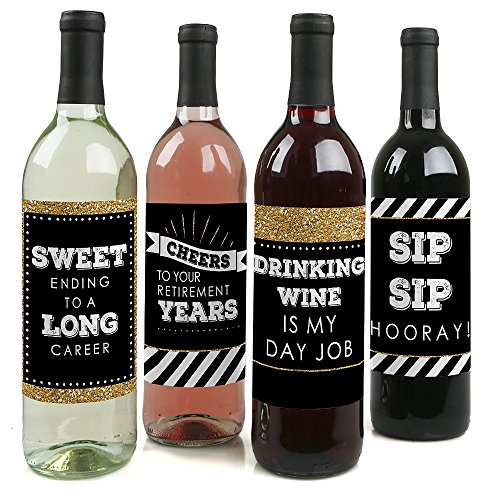 Bottle Party Wine (Happy Retirement - Retirement Party Wine Bottle Label Stickers - Set of 4)