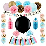 Gender Reveal Party Supplies (42 Pieces) - Baby Shower Decorating Kit, Gender Reveal Balloon, Boy or Girl Banner, Tissue Paper Pom Pom, Tassel Garland and Balloons by Blackdog Mercantile