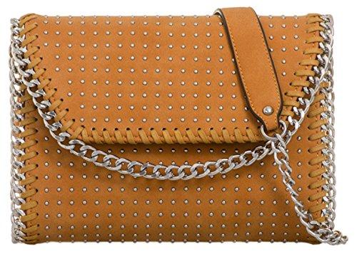 Chain Girly Tan Clutch Handbags Bag Studded wqzqRxB