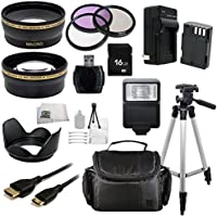 16GB Deluxe Starter Accessory Kit for Pentax SLR 645D K-01 K-3 K-5 K-5 II K-5 IIs K-7 (Which have Pentax 18-55mm or 50mm f/1.8 Lenses). Includes Wide Angle & Telephoto Lenses + 3 Piece Filter Kit (UV-CPL-FLD) + Extended Life Replacement Battery(D-LI90) + Mini HDMI + Carrying Case + Full size Tripod + More Key Pieces Review Image