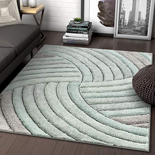 - Well Woven Tilly Light Blue Geometric Stripes Thick Soft Plush 3D Textured Shag Area Rug 5x7 (5'3