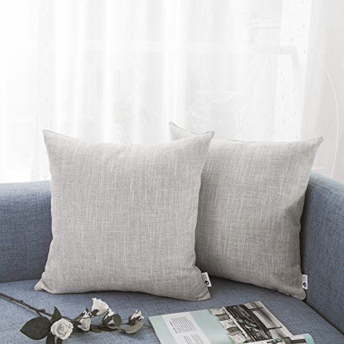 Kevin Textile Decorative Lined Linen Pillow Cover Euro Throw Pillow Case Sham Toss Cushion Covers for Couch, Invisible Zipper, 18x18 inches(Set of 2, Light Grey) (Light Grey Throw Pillows)