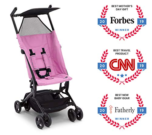 The Clutch Stroller by Delta Children - Lightweight Compact Folding Stroller - Includes Travel Bag - Fits Airplane Overhead Storage - Pink (Best Stroller For Disney 2019)
