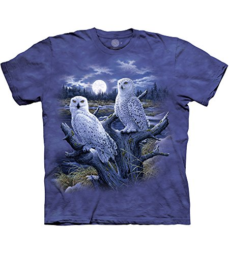 The Mountain Snowy Owls Adult T-Shirt, Blue and Purple, Medium