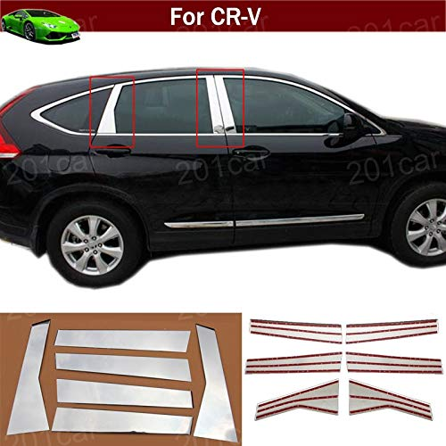 Kaitian 6pcs Chrome Window Middle Pillar Posts Cover Decor Trim Molding Cover Trim Strip Decorative Emblems for Honda CRV CR-V 2012 2013 2014 2015 ()