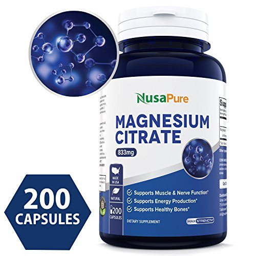Best Magnesium Citrate 833mg Supplement - 200 Capsules Non-GMO & Gluten Free - Max Strength - Support Function of Muscles, Heart & Bones, Energy, Helps Calm Nerves - 100% Money Back Guarantee!