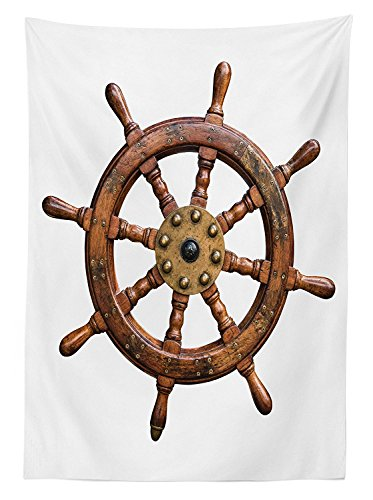 Ships Wheel Decor Tablecloth Wooden And Brass Ships Steering Wheel Antique Aged Historic Wood Natural Decoration Dining Room Kitchen Rectangular Table Cover - Winnie The Pooh Steering Wheel Cover