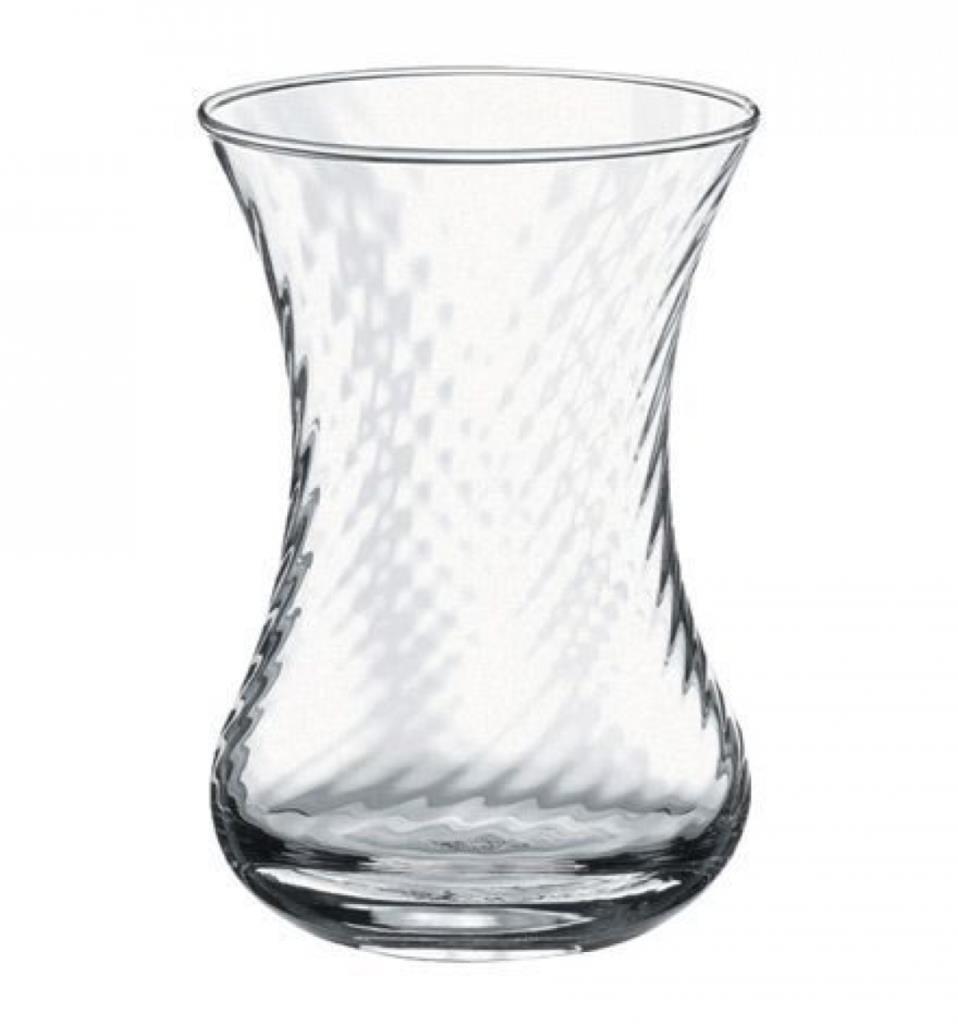 Turkish Tea Glass Set Large Size (Whirling Design) - Optikli Pasabahce