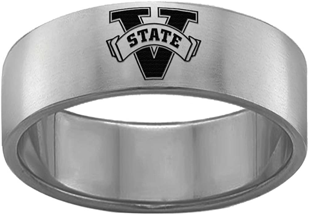Valdosta State Blazers Rings Stainless Steel 8MM Wide Ring Band Single Logo Style