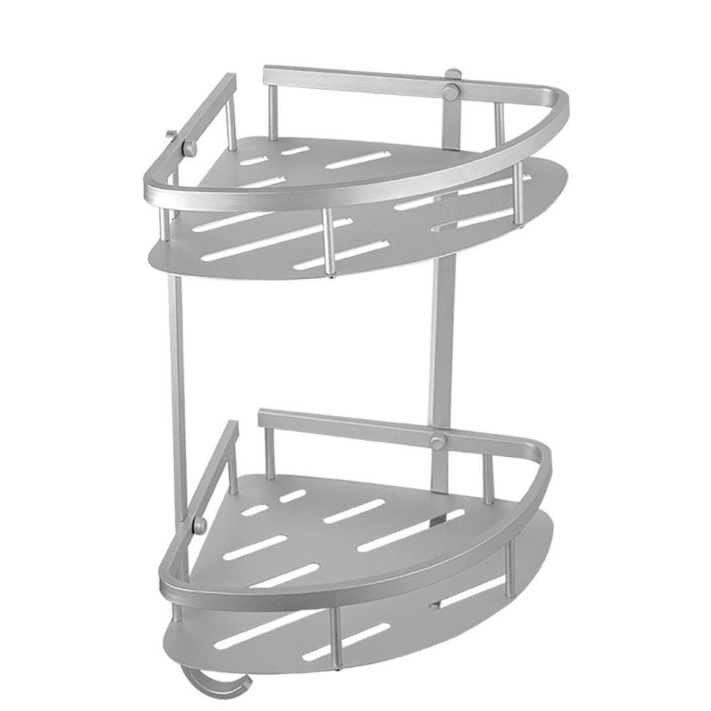 Bathroom rack Piletta da bagno in alluminio a spazio doppio con struttura triangolare per bagno, dimensioni: 27x22x36 cm TAO LU SHOP