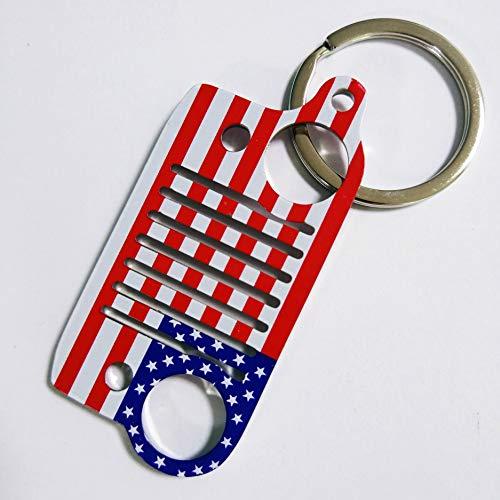 (PerfecTech Stainless Steel USA American Flag Jeep Grill Key Chain Keychain Keyring CJ JK TJ YJ XJ (USA Flag))