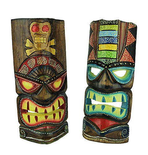 - Chesapeake Bay 12 inch Tall Hand Crafted Wooden Tiki Totem Wall Mask Set of 2