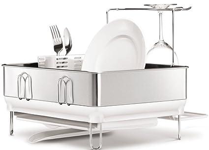 Amazon.com: simplehuman Compact Steel Frame Dish Rack with Wine ...