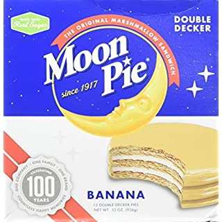 MoonPie Double Decker Banana Marshmallow Sandwich - 2oz, 12Count Box (Pack of 6 Boxes, 72Count Total) | Double Layer Banana Covered Graham Cracker & Marshmallow Pie, 1 Pack