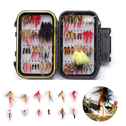 Fishing Lures 72PCS Premium Flies Dry and Wet Flys Kit with Woolly Bugger Fly, Trout Flies Emerger Fly Collection for Saltwater and Freshwater(72pcs + Waterproof Fly Box)