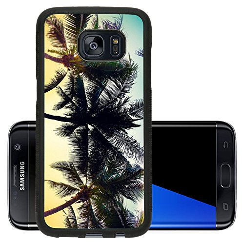 Luxlady Premium Samsung Galaxy S7 Edge Aluminum Backplate Bumper Snap Case IMAGE ID: 39718944 Silhouette palm tree with sun vintage filter and leak effect processing (Sunrise Tree)