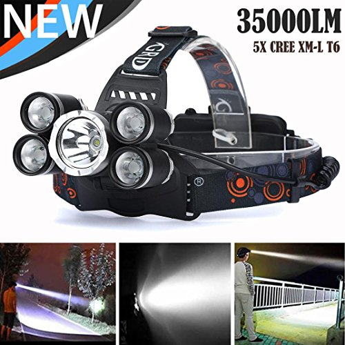 Quaanti Super 35000 LM 5X CREE XM-L T6 LED Rechargeable Headlamp Headlight Travel Head Torch (Black) ()
