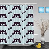 """Cute Cattoon Cat And Small Footprint Decor Bathroom Morden Kawaii Home Collection Shower Curtains Waterproof Mildewproof Polyester Fabric Blue 66""""x72""""Inch"""