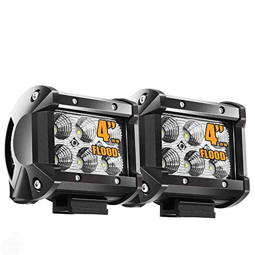 Flood 4In Pods Cube Square Led Work Lights Bumper Grill Off Road Backup Reverse Fog Lights Auxiliary Driving Headlights for Motorcycle Kawasaki Mule Jeep Wrangler Boat Tractor Emergency Light Truck