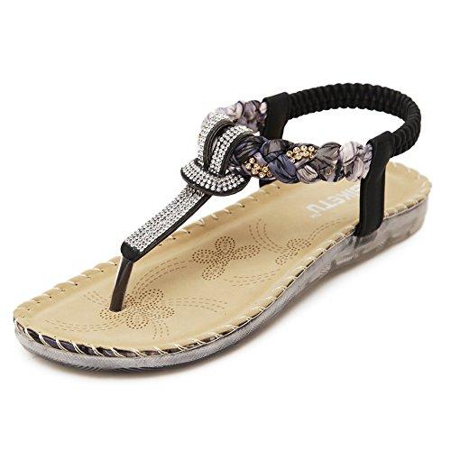 - KUYUPP Women's Summer Sandals Bohemian Diamond Flat Driving Shoes Flip Flops Black 7