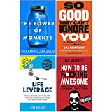 Power of Moments, So Good They Cant Ignore You, Life Leverage, How To Be Fcking Awesome 4 Books Collection Set