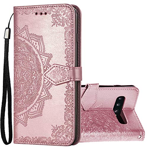 gaxaly s10 plus case magnetic compatible with samsung galaxy s10plus cases s 10 folio wallet kickstand card holder pu leather cell phone glaxay s 10 skin g galxy 10s cover bumper 6.4 inch (Rose Gold)
