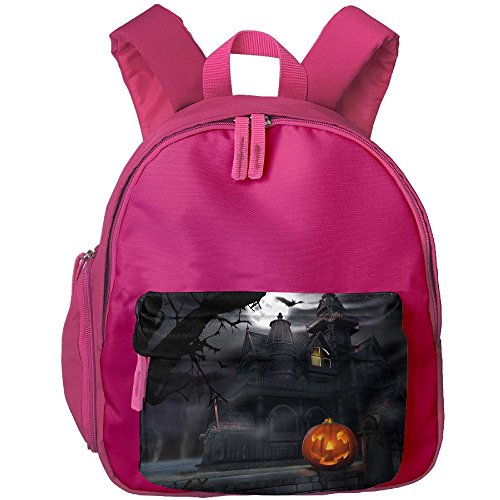Full Moon Hallowmas Halloween Printed Kids School Backpack Cool Children Bookbag Pink