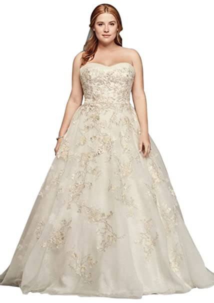 Plus Size Oleg Cassini Organza Wedding Dress with Beading ...