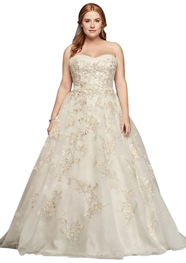 Plus Size Oleg Cassini Organza Wedding Dress with Beading Style ...