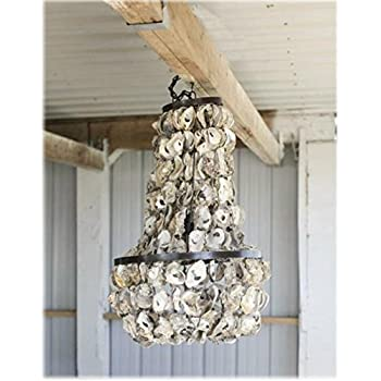 Vintage Iron Oyster Shell CHANDELIER beach cottage Hand Made light fixture