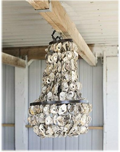 Vintage iron oyster shell chandelier beach cottage hand made light vintage iron oyster shell chandelier beach cottage hand made light fixture aloadofball Image collections