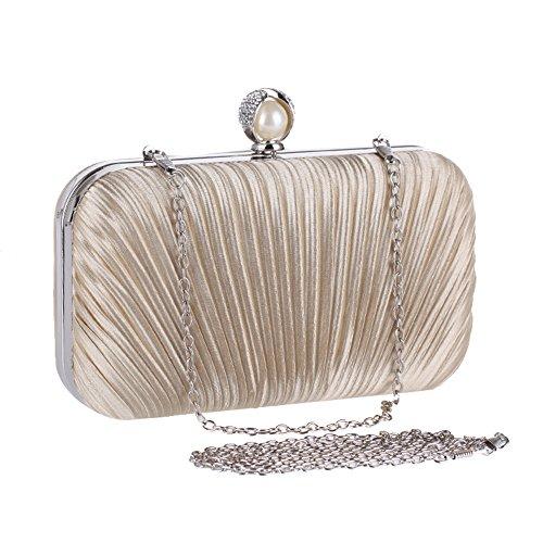 Shoulder Luxury Purse Handbag Evening HeySun Black Rhinestone Womens Pleated Clutch Party Bag xwY65qUCZ