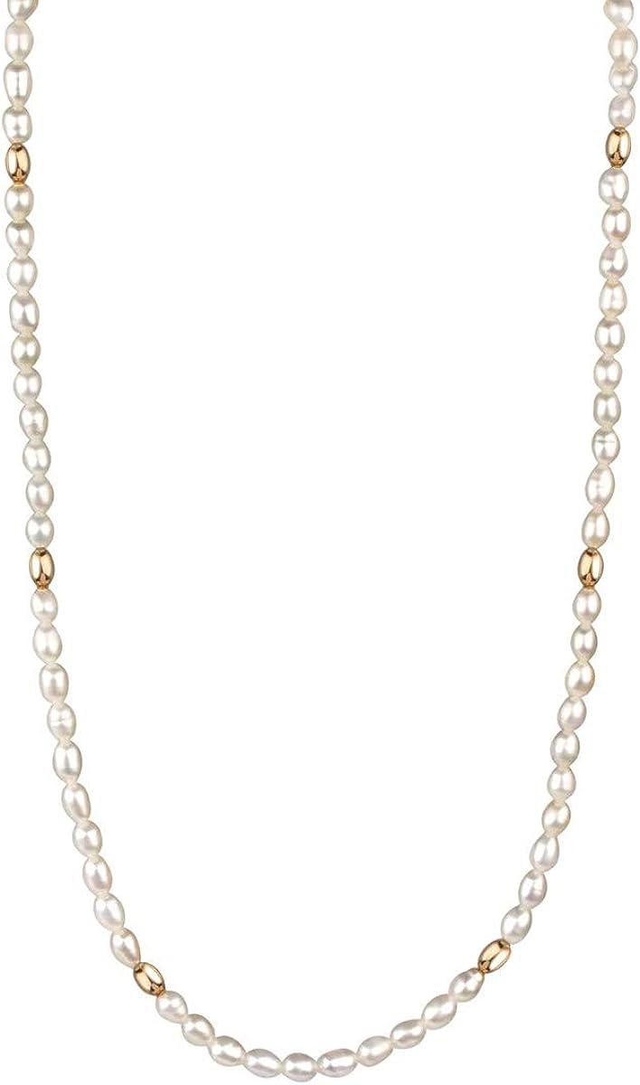 VIDAL & VIDAL Collar Mujer Perlas con Bolas chapadas en Oro intercaladas