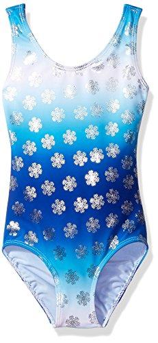Danskin Big Girls' Gymnastics Leotard, Ombre Blue Ice, Large (Big Kids Ice Blue Apparel)