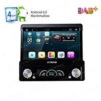 XTRONS Single 1 Din Android 6.0 Quad Core 7 Motorized Detachable HD Multi-Touch Screen Car Stereo In Dash DVD Player GPS Radio Screen Mirroring Function OBD2