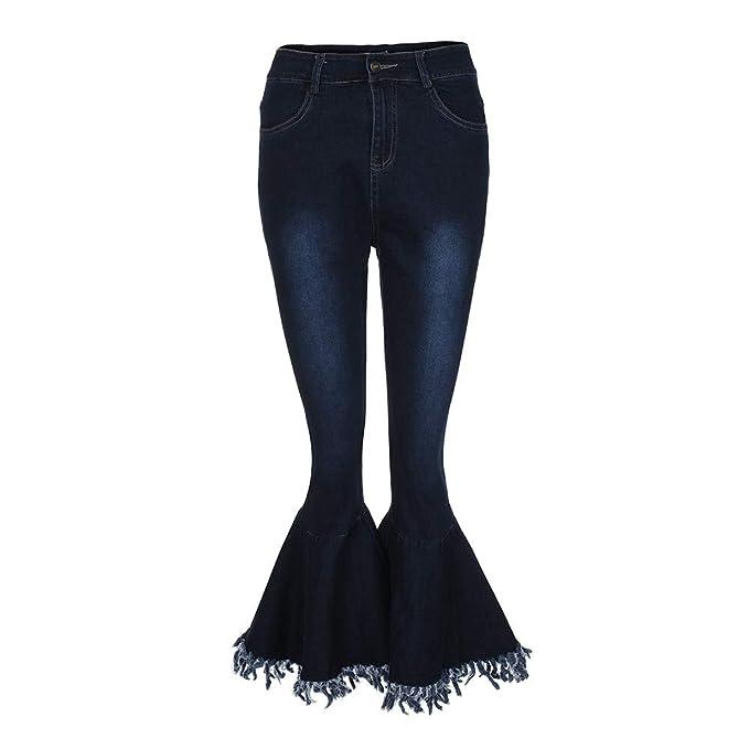 Pantalones Vaqueros Rotos Cintura Alto para Mujer Invierno ...