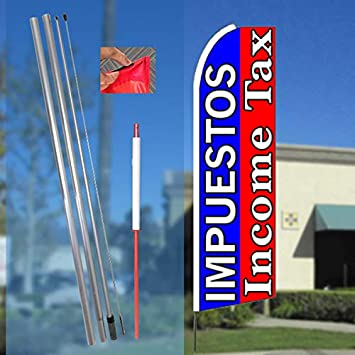 2 Swooper Flutter Feather Flags plus 2 Poles /& Ground Spikes EASY FINANCE Blue Red White