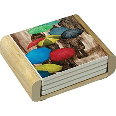 CounterArt In the Rain Design Absorbent Coasters in Wooden Holder, Set of 4