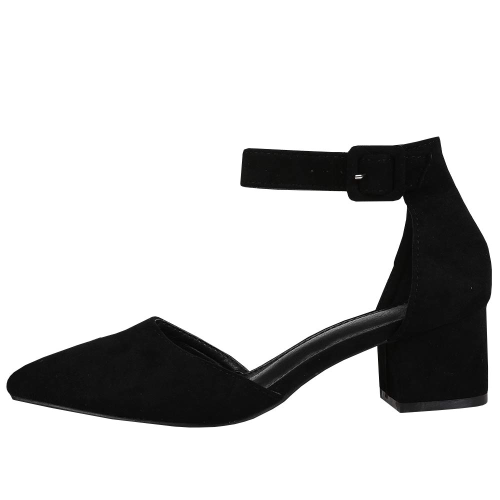 33e947eac Amazon.com | Womens Heeled Ankle Buckle Block Pointed Toe Cut Out Pumps  Sandals | Pumps