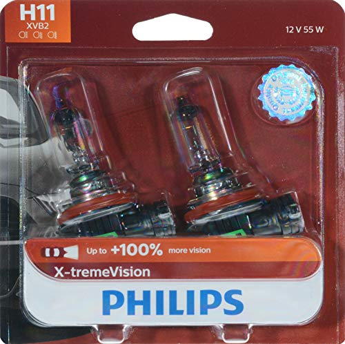 Philips H11 X-tremeVision Upgraded Headlight Bulb with up to 100% More Vision, 2 Pack ()