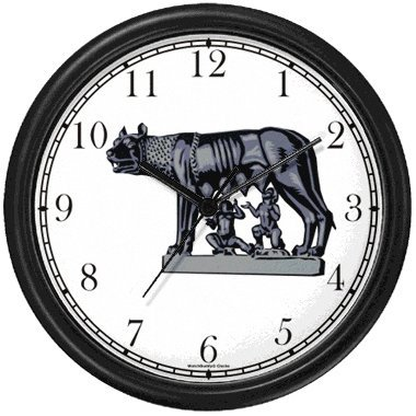 Amazon.com: Romulus and Remus Nursed by Wolf Statue Wall Clock by ...