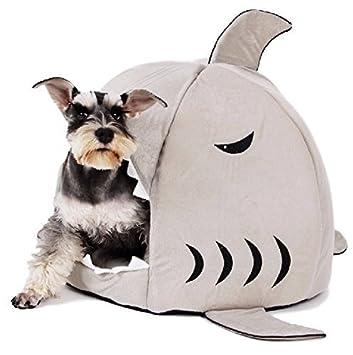 Ducomi®El Tiburón - Casa para perros o gatos acolchada con suave cojín. (Medida Grande: 52 x 52 x 38 cm): Amazon.es: Productos para mascotas