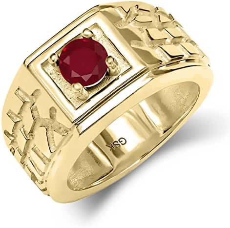 0.56 Ct Red SI1/SI2 Ruby 18K Yellow Gold Plated Silver Men's Solitaire Ring