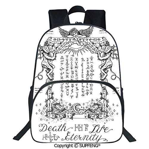 SCOXIXI Backpack Gothic Medieval Magic and Spell Symbols Eternal Life Ritual Chart Art Theme (15.75
