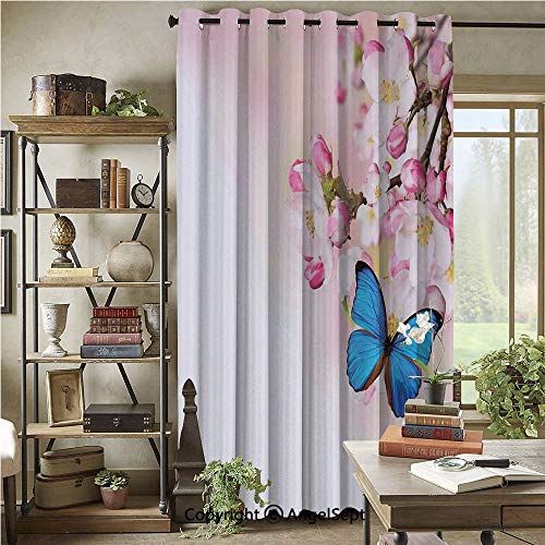 Wide Width Curtain Blackout Curtains,Blue Butterfly on Spring Cherry Blossoms Japanese Flower White Pink Orchard Nature,72x96inch,for Large Windows,Sliding Doors,Blue Pastel Pink