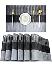 ADRIMER Placemats Set of 6 for Dining Table, Washable Heat Resistant PVC Table Mats, Stain Resistant Non-Slip Woven Vinyl Placemats