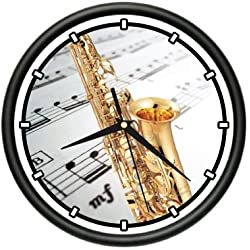 SignMission Wall Clock Alto Saxophone Player Music Brass Jazz, Beagle Dog pet Dogs Puppy Breeder Gift, 1SAXAPHONE