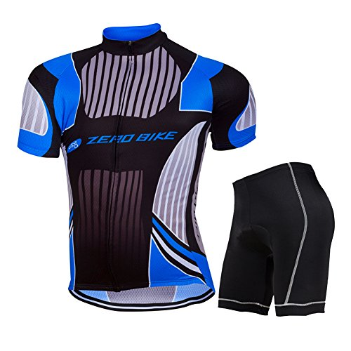 ZEROBIKE® Men's Short Sleeve Breathable Cycling Jersey 3D Padded Shorts Set Bicycle Clothing Full Zip (Jersey Cycling Set compare prices)